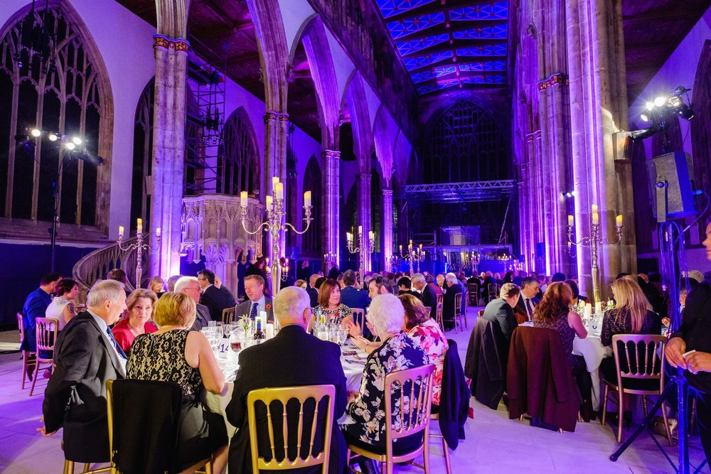 Guests dine by candlelit at a gala dinner that provided a major boost for the Hull Minster development project.