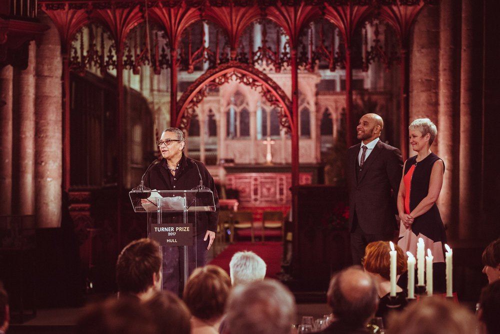 Turner Prize 2017 winner Lubaina Himid addresses guests at Hull Minster, as artist and musician Goldie and Tate Director Maria Balshaw look on. Picture: Chris Pepper/Hull UK City of Culture 2017