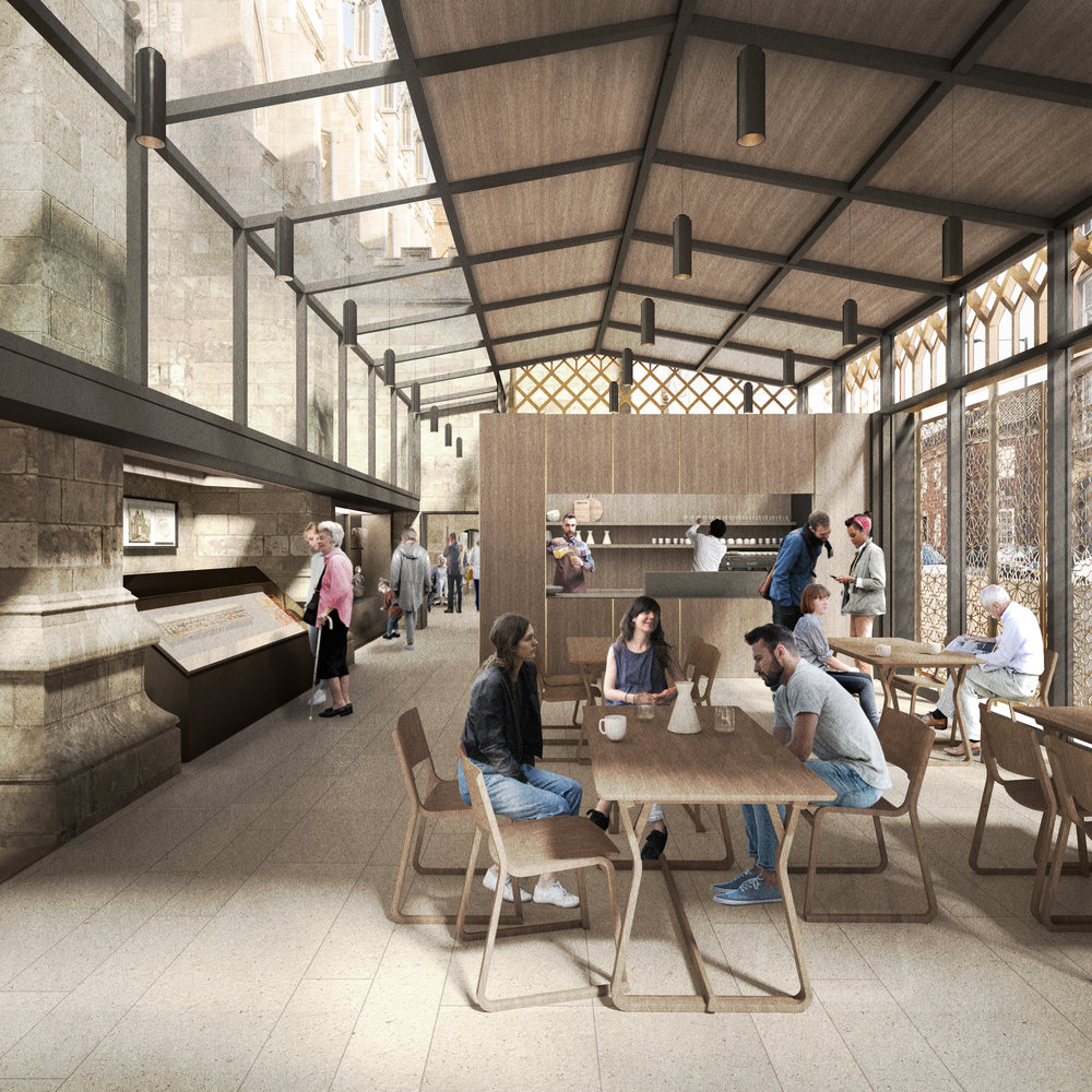 Interior view of the new visitor and heritage centre, inclusive of heritage displays and café.