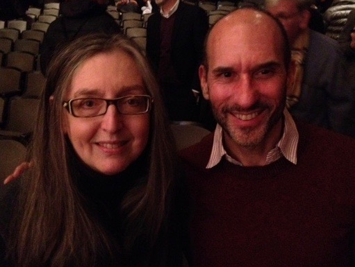 with fellow-alum of the NYU Graduate Program in Creative Writing and author of Bed of Crimson Joy, Joan Poole.  We're at the New School Jean Valentine Tribute, April 5, 2016.