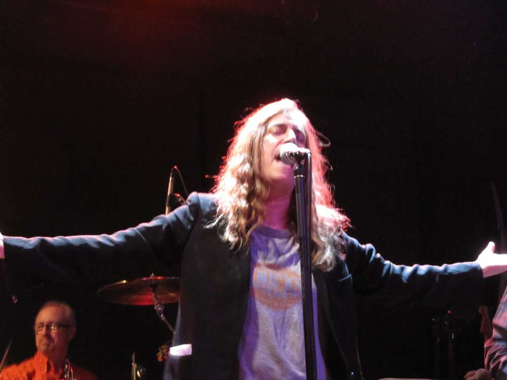 Patti Smith (Jay Dee Daugherty in background) performing at the Bowery Ballroom.
