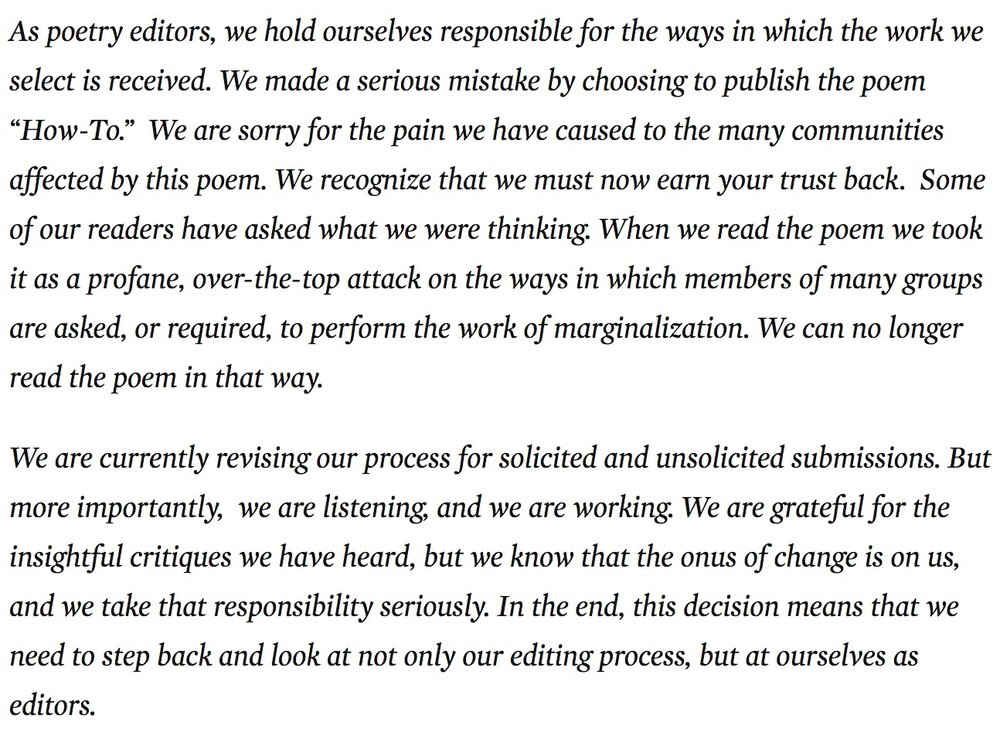"Nation magazine poetry editors, apologizing for publishing ""How-to,"" Anders Carlson-Wee's misguided dramatic monologue of homelessness."