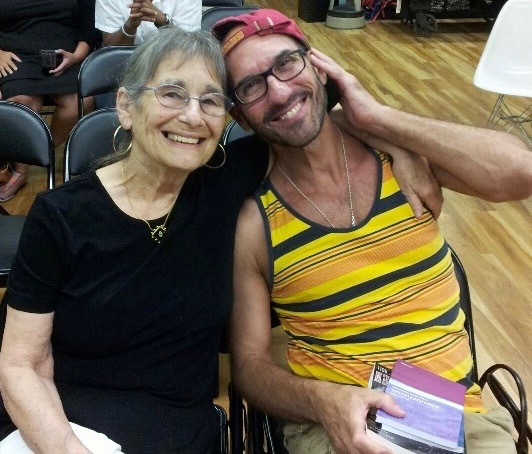 With Alicia Ostriker at a reading for The Old Woman, the Tulip and the Dog (June 2014)