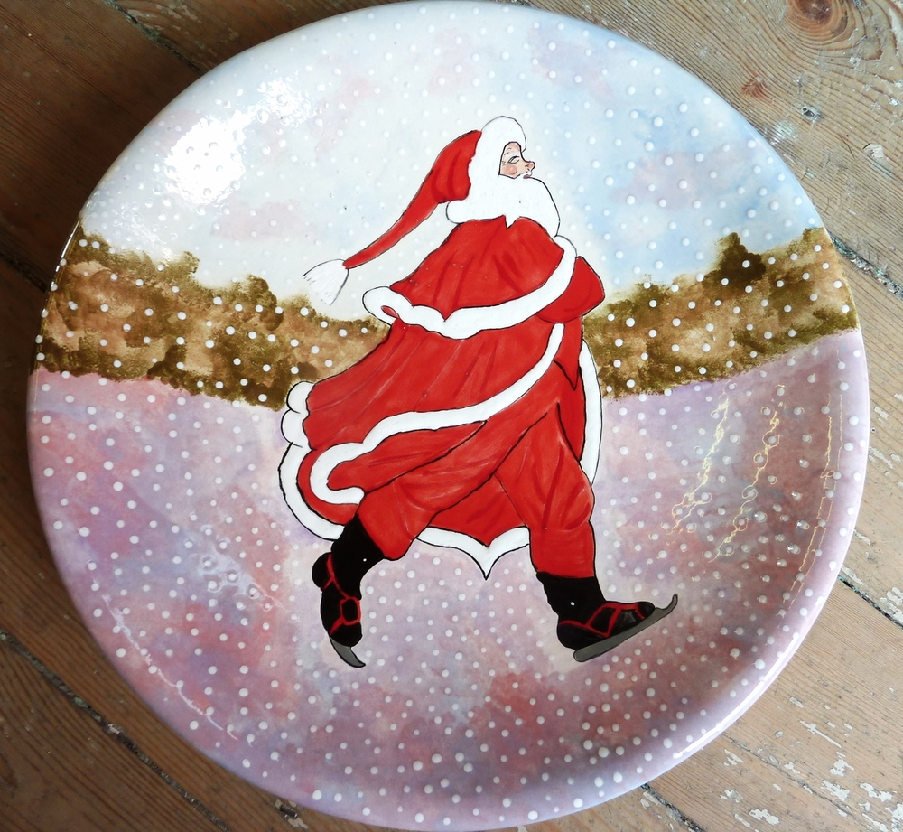 Our fantastic Skating Santa plate