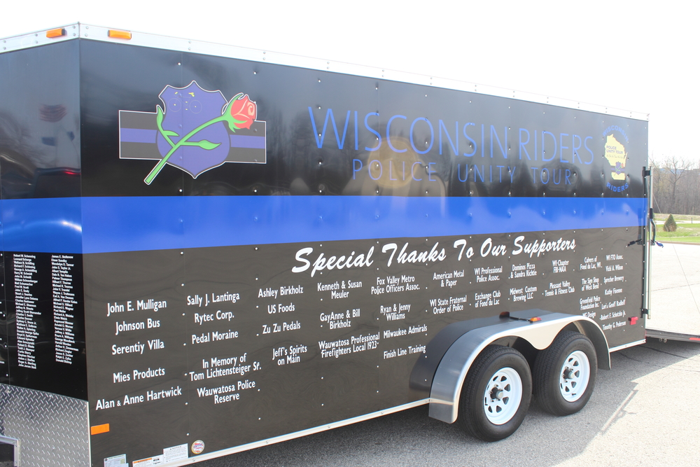 The Wisconsin Riders trailer at the 2014 Send Off Ceremony.