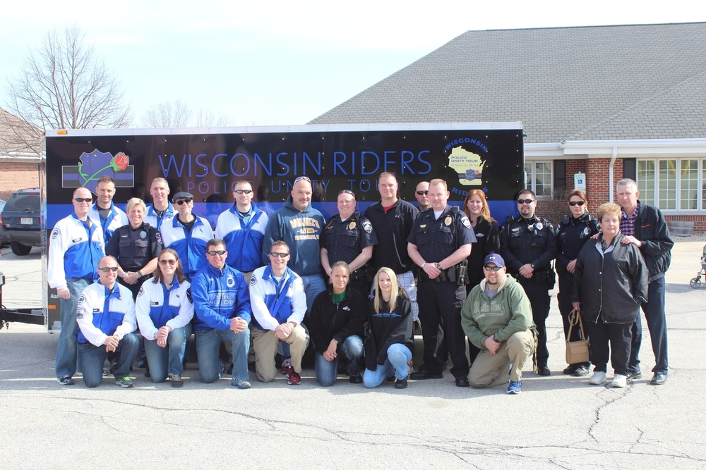 Wisconsin Riders members and friends, family and co-workers of Officer Don Bishop at the 2014 Send Off Ceremony at the Town of Brookfield Police Department.