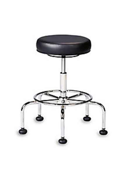 "Ergofit Adjustable Task Stool is perfect for the office or shop. Seat height adjustment. 26"" base with 18"" dia. footring. Meets or exceeds ANSI/BIFMA standards"