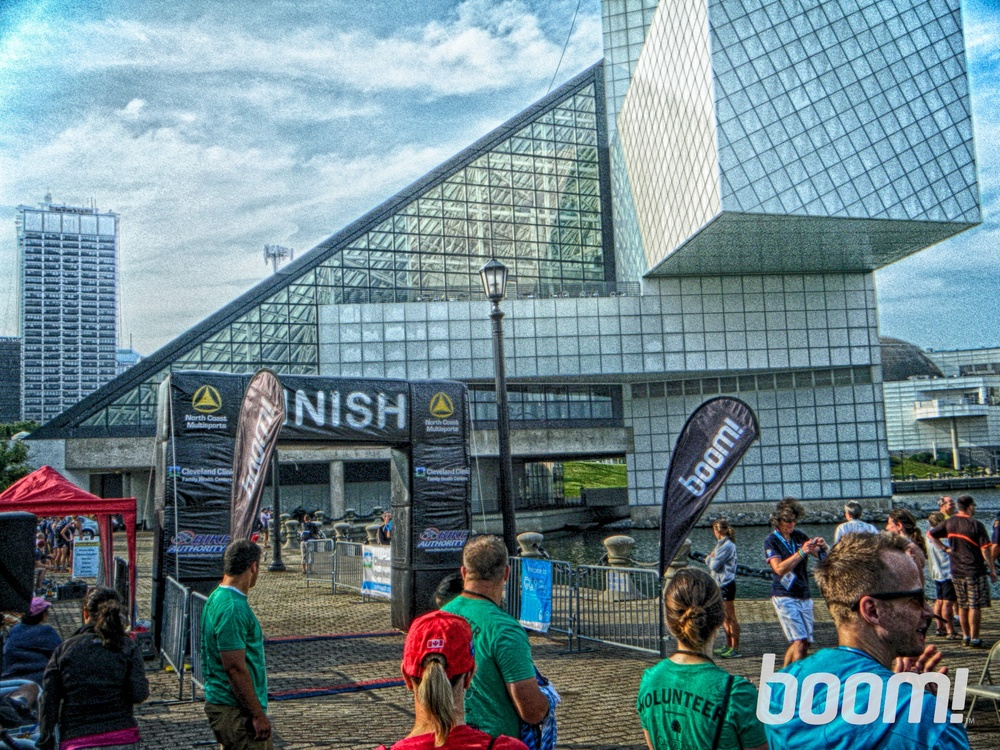 Finish line at the Rock'n'Roll Hall of Fame and Museum, downtown Cleveland
