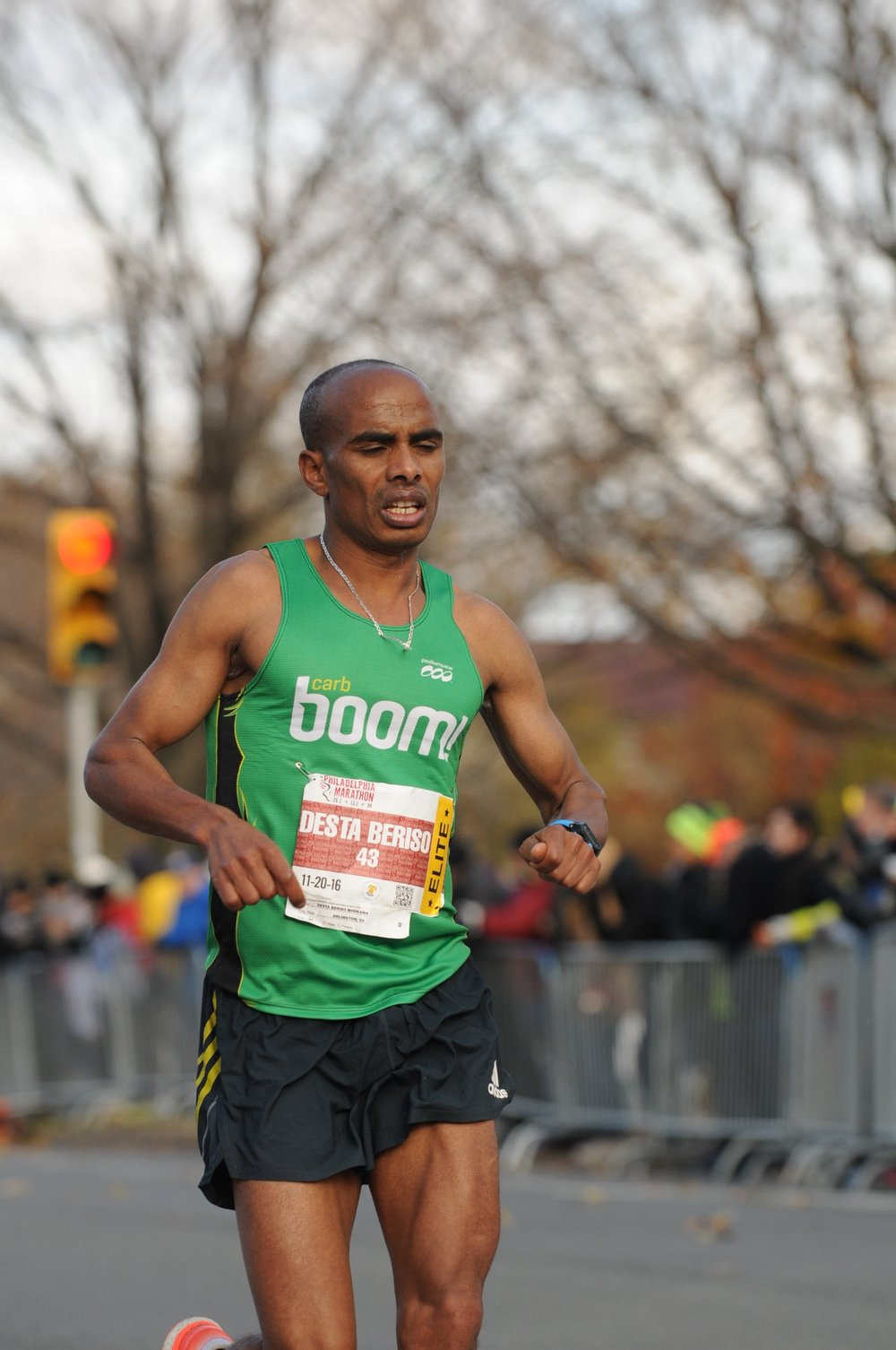 Desta enroute to a 2:27:03 finish (13th OA) at 2016 Philadelphia Marathon.  Boom!