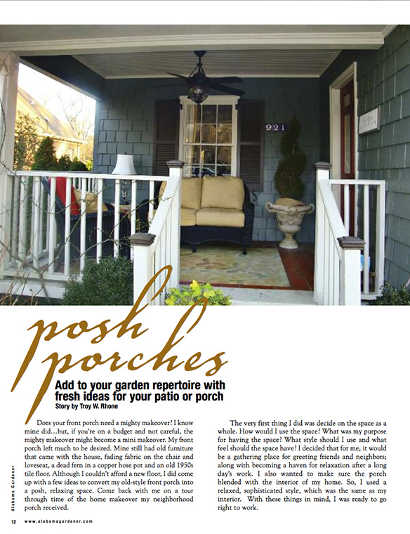 """Posh Porches"" Alabama Gardener May 2010"