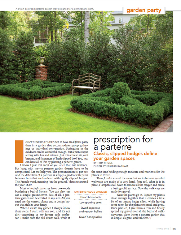 """Prescription for a Perterre"" Flower Magazine Spring 2010"