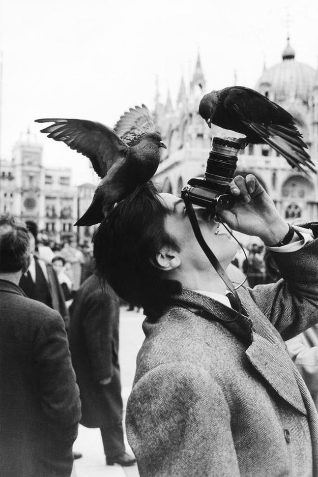 Alain Delon with rangefinder camera
