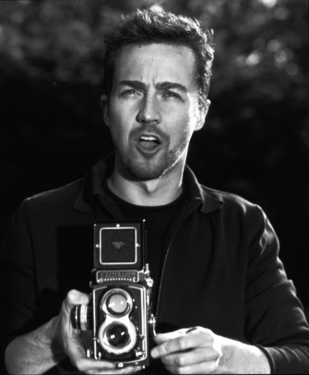 Edward Norton with Rolleiflex camera