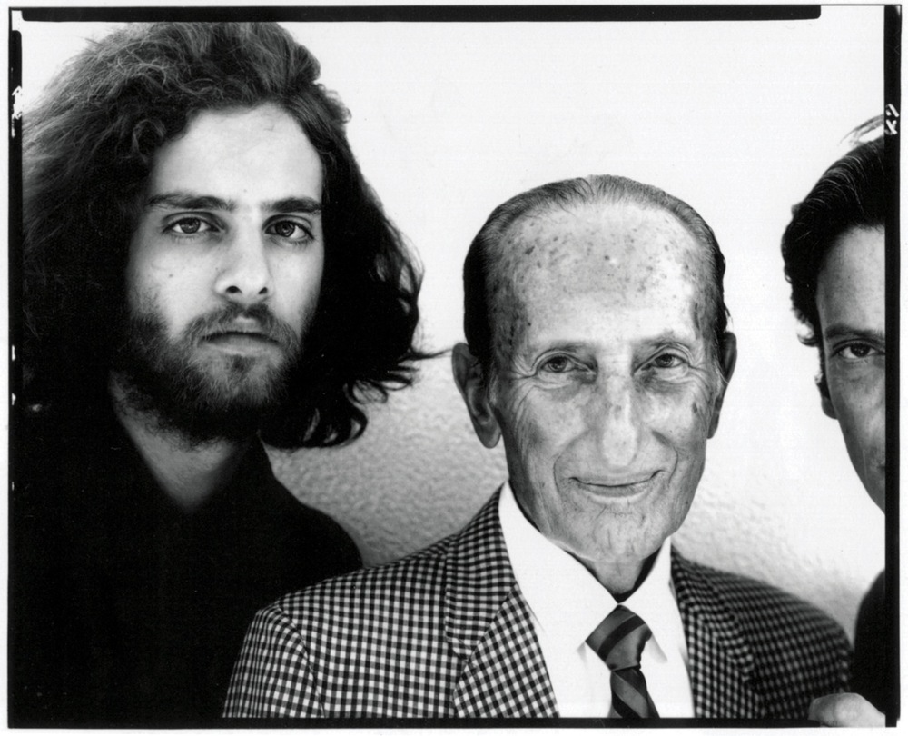 """Avedon's 8″ x 10″ portrait of his son, his father, and himself during a visit to Jacob Avedon's home in Sarasota, Florida, August 9, 1969"". © Richard Avedon Foundation."