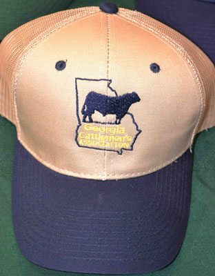 97265a2b666 Khaki Georgia Cattlemen s Hat with Navy Bill and Mesh Back — Georgia  Cattlemen s Online Store