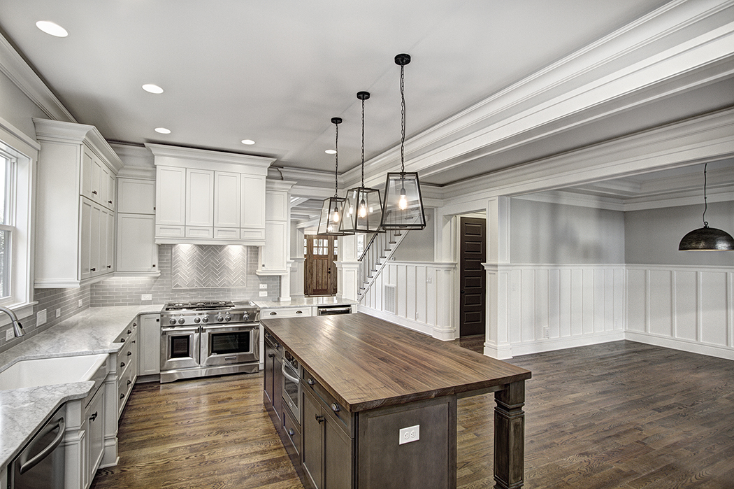 Warm white kitchen island and two tones on pinterest for Craftsman home builders charlotte nc