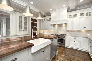 farmhouse sink with walnut countertop carolina craftsman buildersjpg - Farmhouse Builders