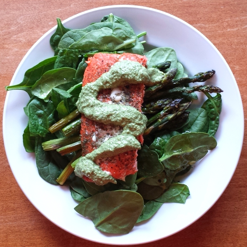 Grilled Salmon with Basil-Lemon Balm Pesto