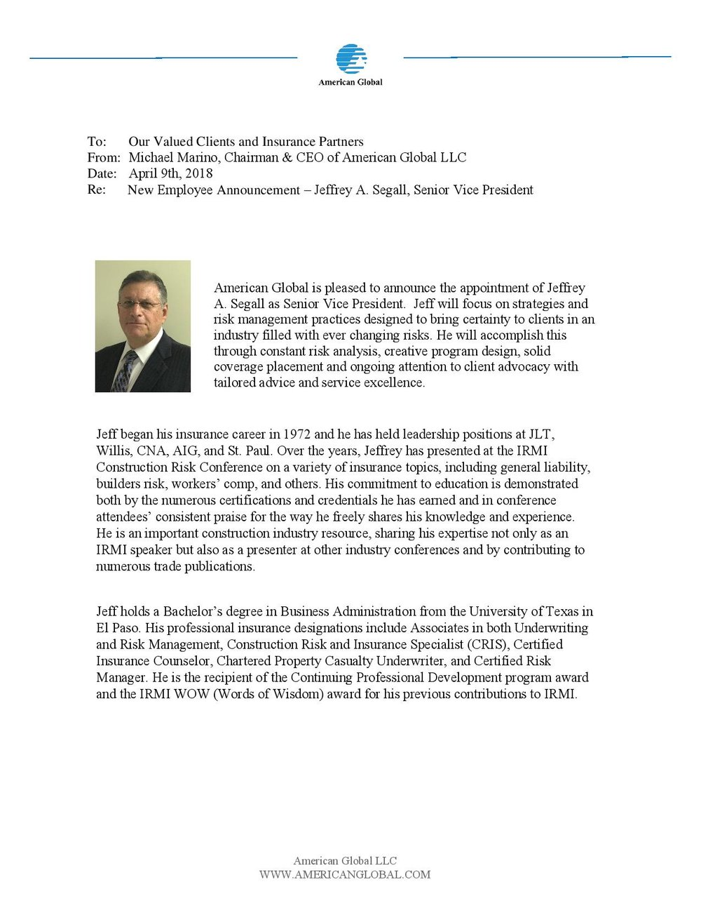 American Global New Employee Announcement -Jeffrey A. Segall-page-001.jpg