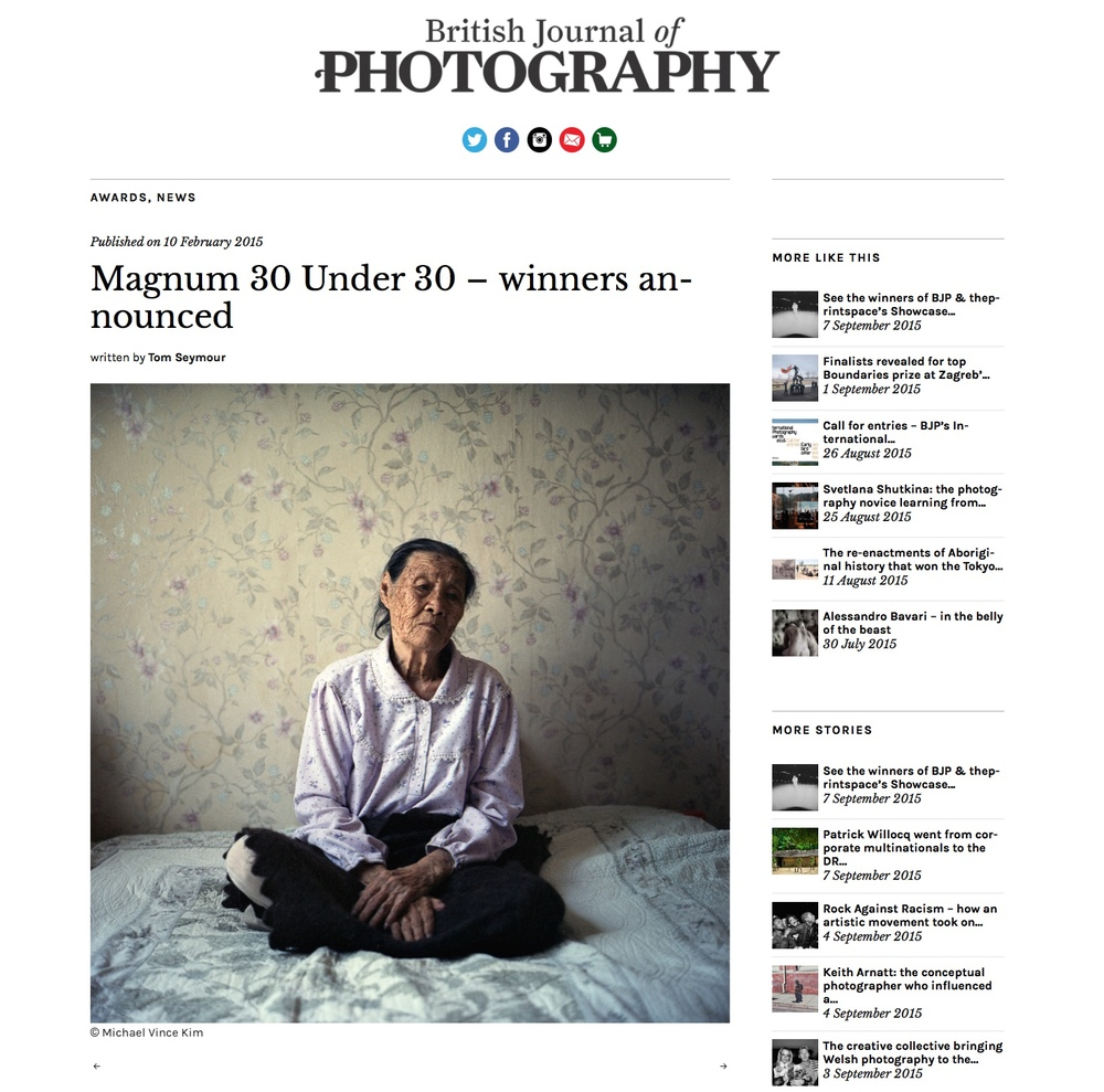 British Journal of Photography, Magnum '30 Under 30', February 2015