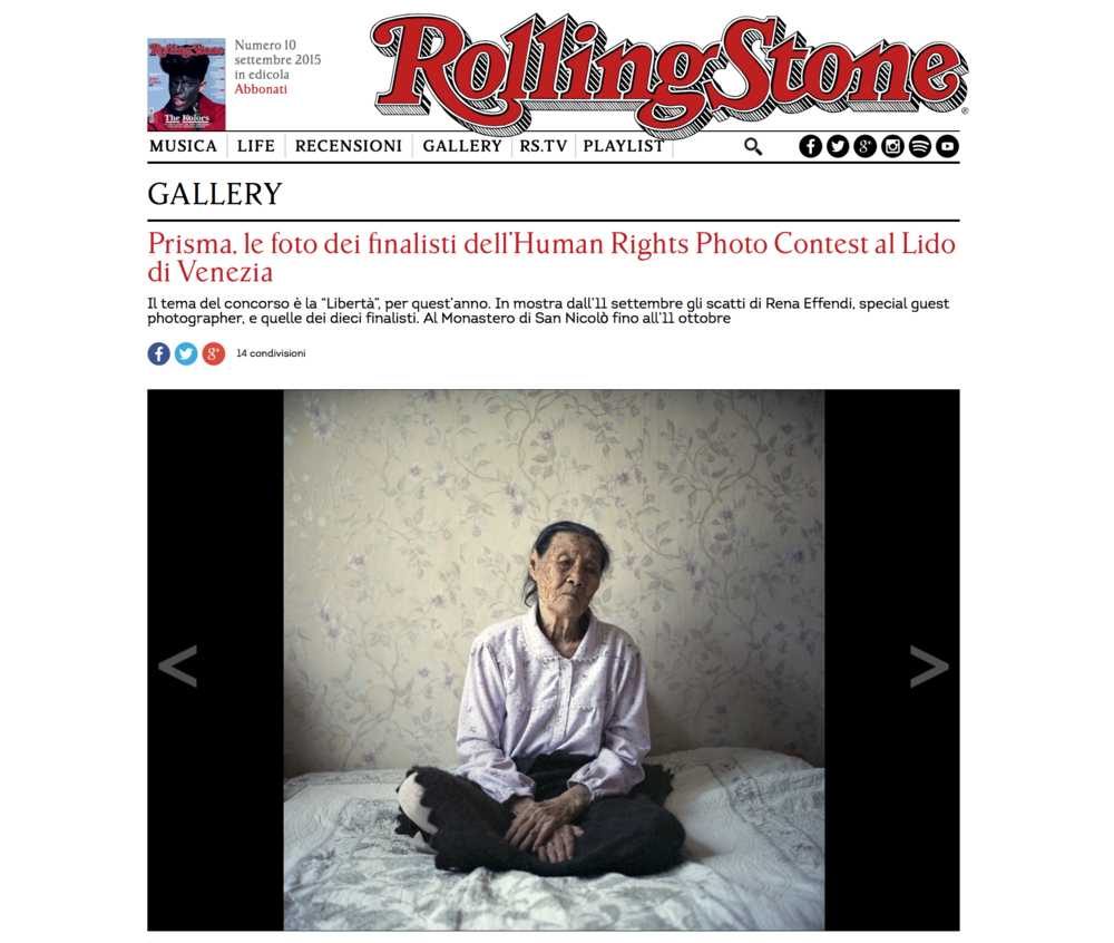 Rolling Stone, PRISMA Human Rights Photo Contest, September 2015