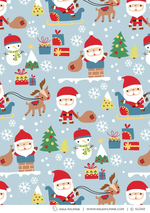Inga Wilmink for Glünz - Santa fabric