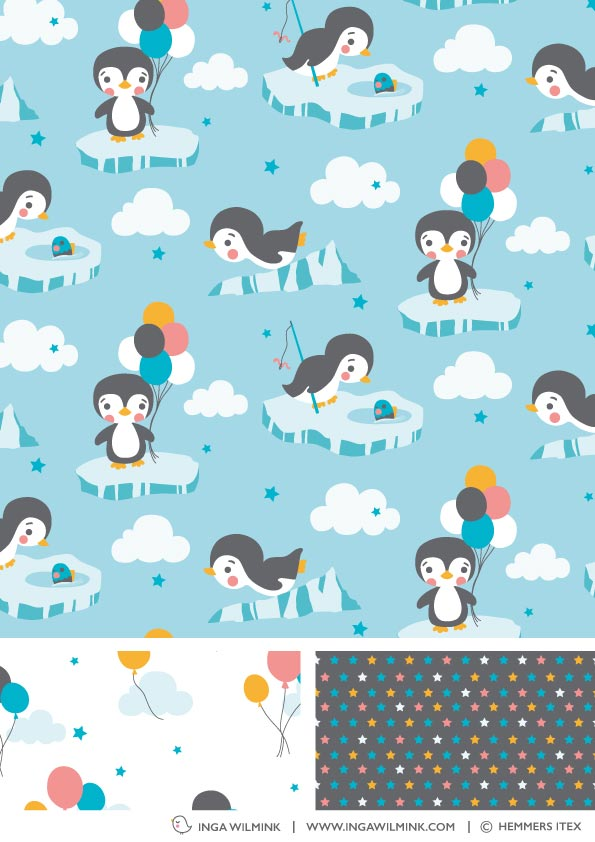 Inga Wilmink for Hemmers Itex - Penguin fabric