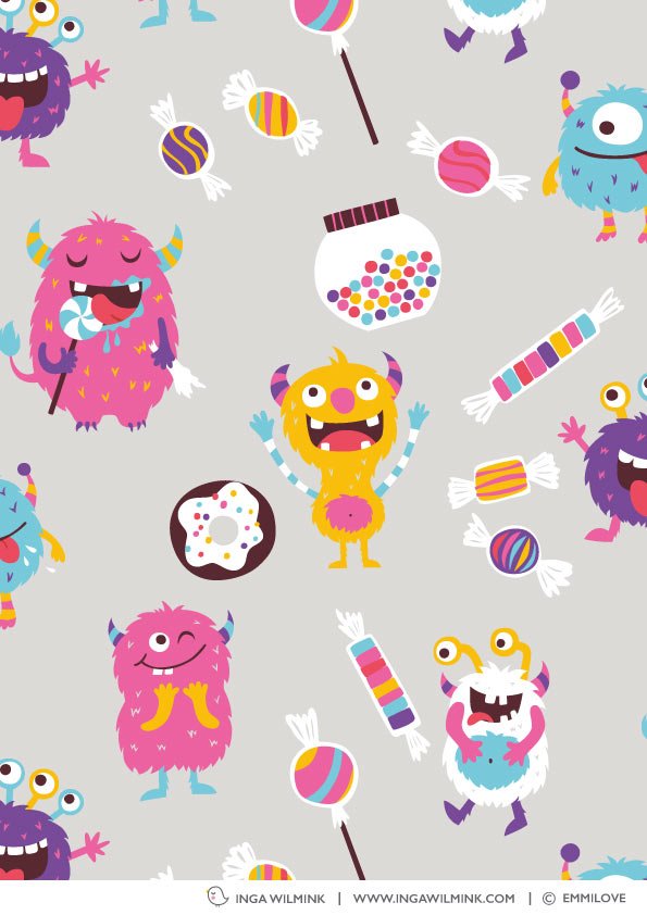 Inga Wilmink for Emmilove - Sweetie Monsters fabric