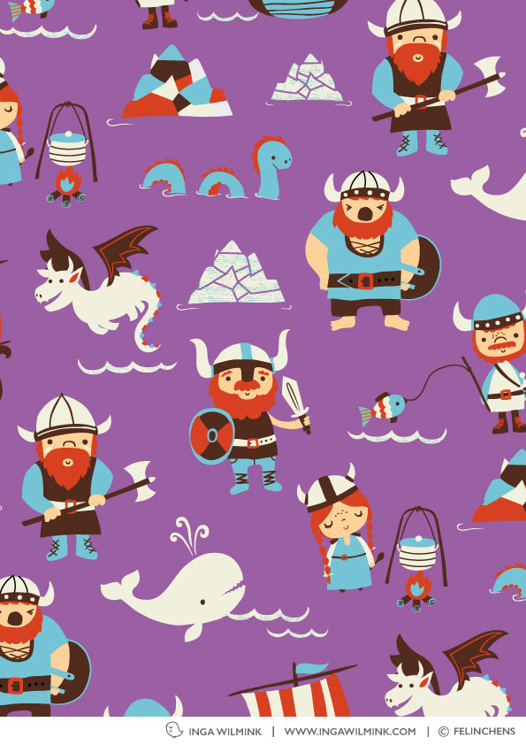 Inga Wilmink for felinchens - Vikings fabric