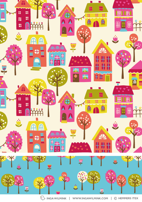 Inga Wilmink for Hemmers Itex - Happy Houses fabric