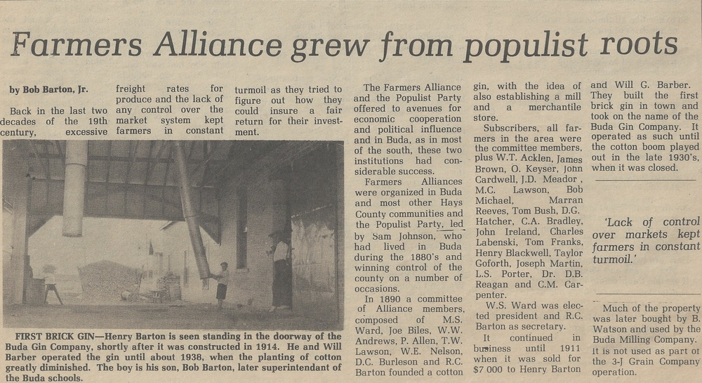 Onion Creek Free Press Article, dated from October 3, 1981, shows Henry Barton standing on the north side of the brick building.