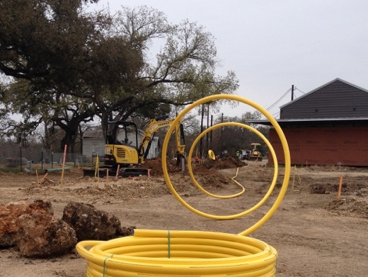 Yellow pipe for the gas line through the property.