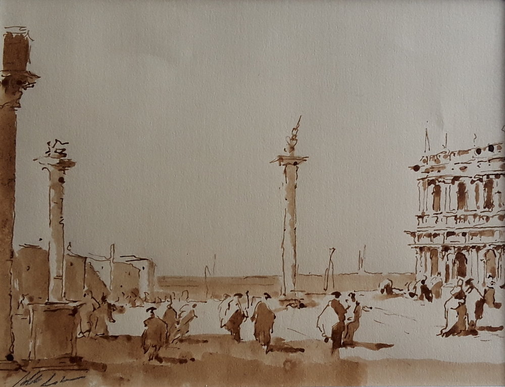 Alberto la Versa Ink and guoaches on paper, $100