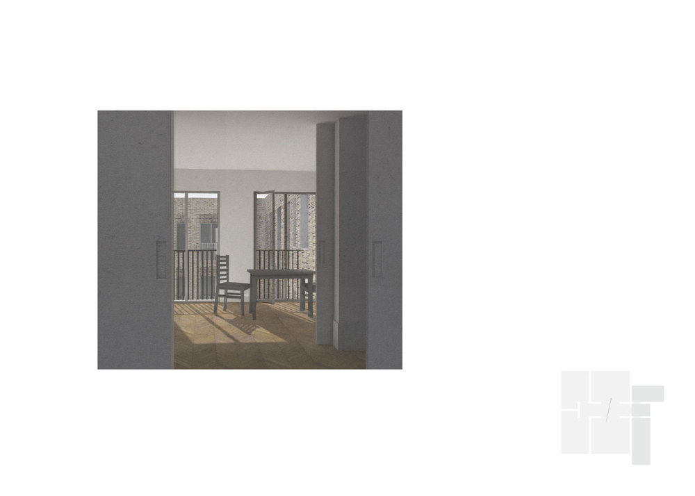 Dwelling type 1: 2 bed. View to courtyard through living spaces