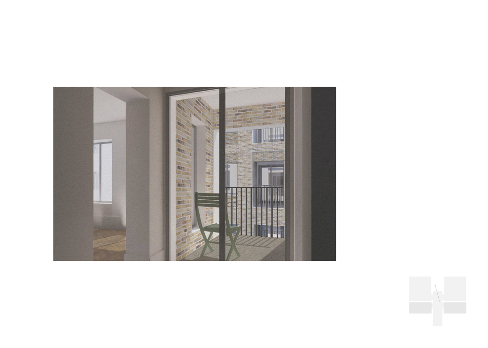 Dwelling type 2: 1 bed. View to courtyar through private amenity space.