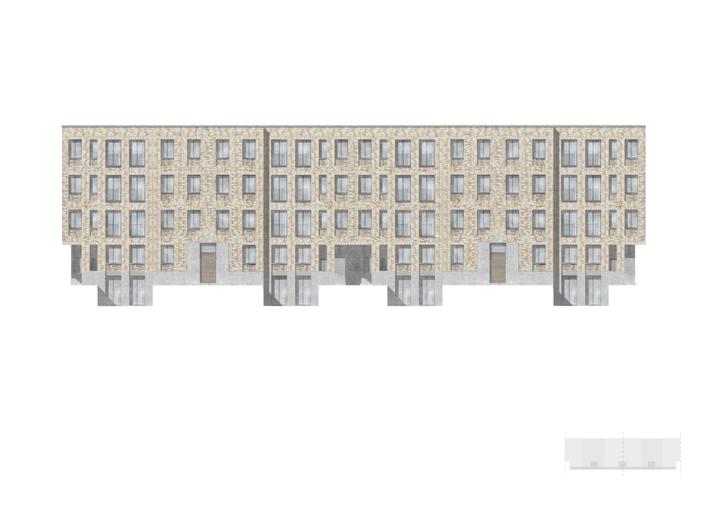 Street elevation: 2 typical blocks joined to create hard street edge