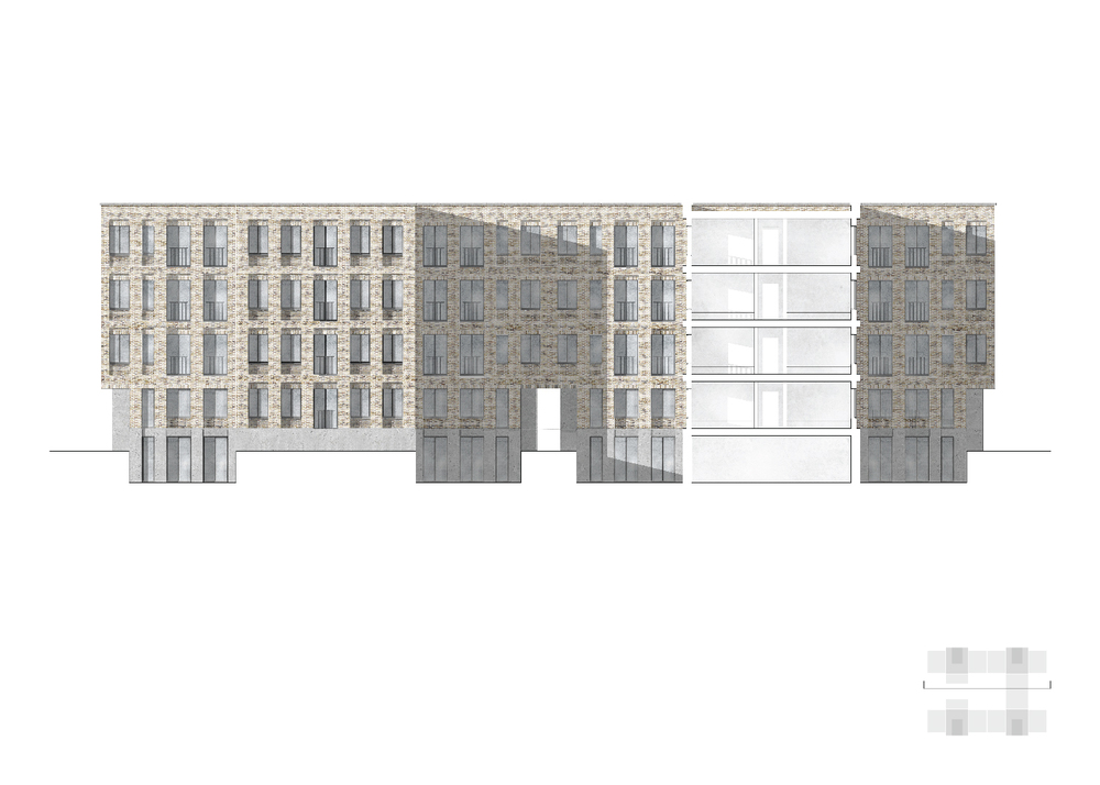 Section Through 2 Bed Apartment and Courtyard, Showing Public & Private Amenity Space 1.100
