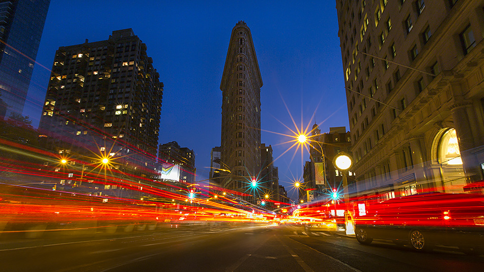 This shot of the Flatiron Building in New York is a 9 shot in-camera multiple exposure.  The traffic was coming from both camera left and camera right, so the multiple exposures enabled me to record the trailing lights on both sides.