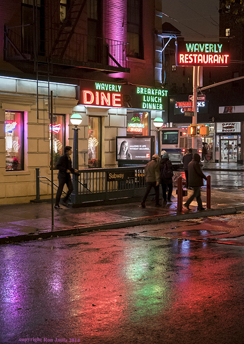The Waverly Diner  is a classic New York City diner and has colorful neon signs that reflect beautifully on the wet pavement.   ISO 1000, 1/30 sec. f2.8, 28mm lens.