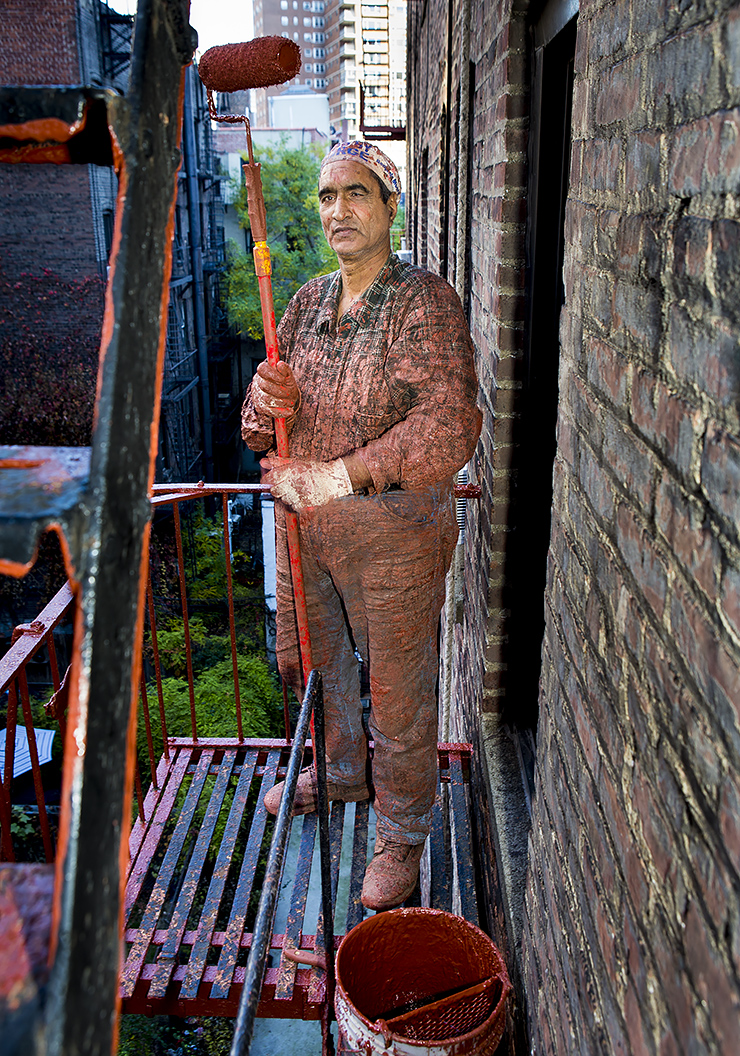 Fire Escape Painter.   28mm lens 1/50th sec at f6.3ISO 400
