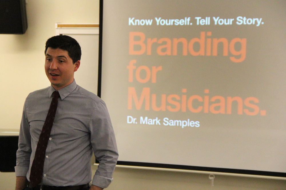 Branding for Musicians workshop at the University of Oregon. Photo by Erin Zysett.