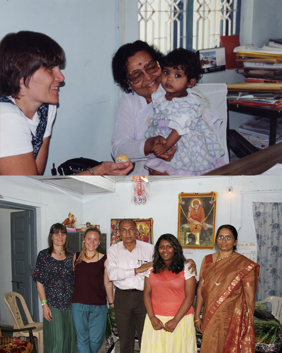 Top: my mum cloyingly plies Kshanika with a little rubber ball upon their first introduction (pictured with Mother Shamala, the orphanage head at the time); Bottom: My mum, myself, the doctor, Kshanika and the new orphanage superintendent pictured in the main office.