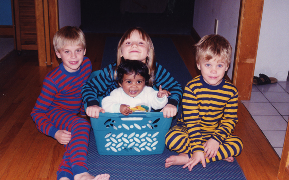 All of us hoodlums: my older brother Cory, me and Nika, and Ian on the right.