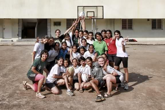 Surabhi, Anna and I with our fledgling ruggers at the Maharashtriya Mandals school