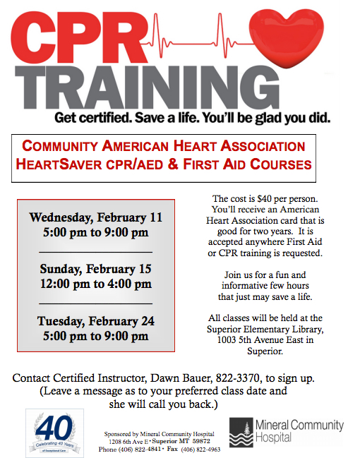 Save A Life Cpr Training February 15th 24th In Superior Montana