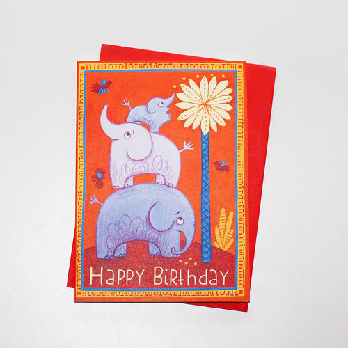 Elephants Happy Birthday Card Elephant