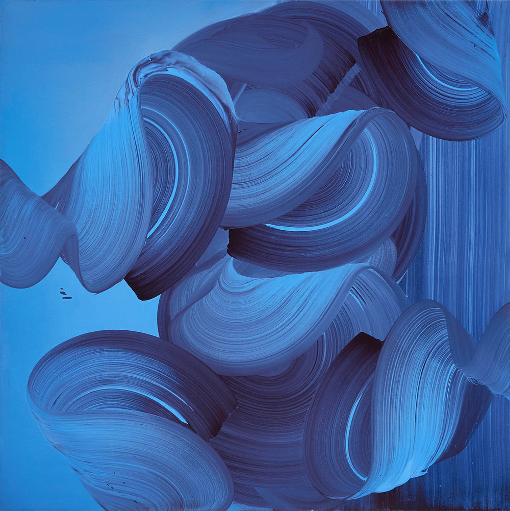 Blue Swirls and Stripes  39 x 39 in