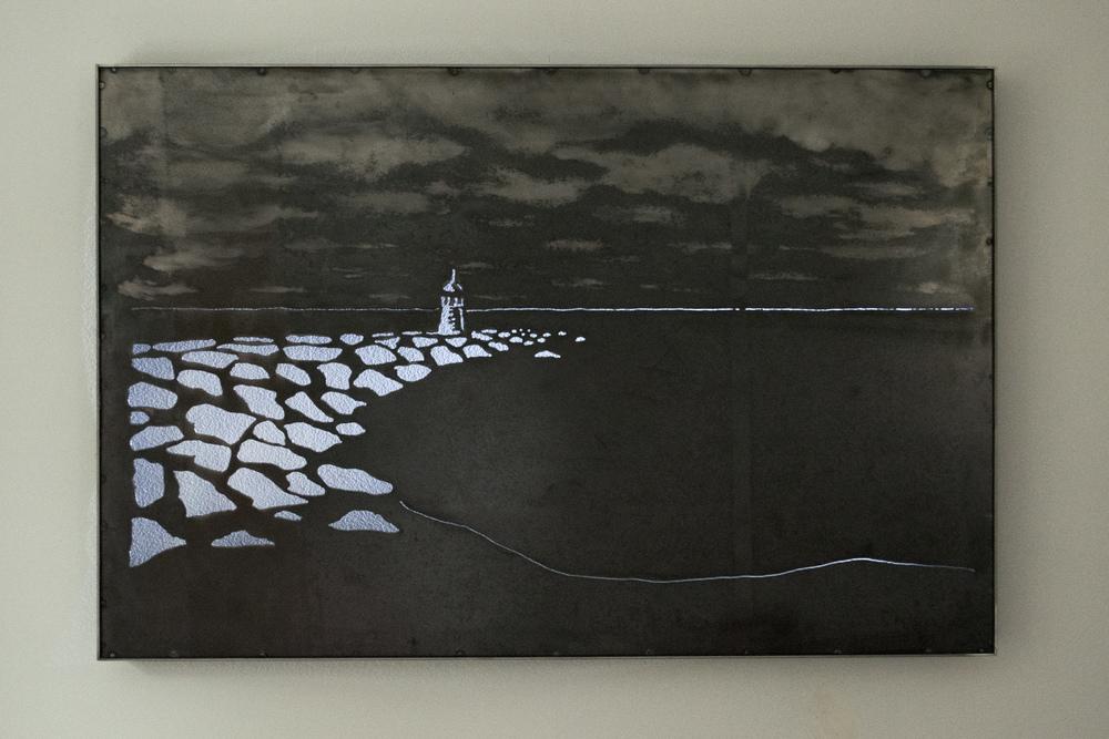 "Steel Lighthouse Cutout Framed 36"" x 24"""