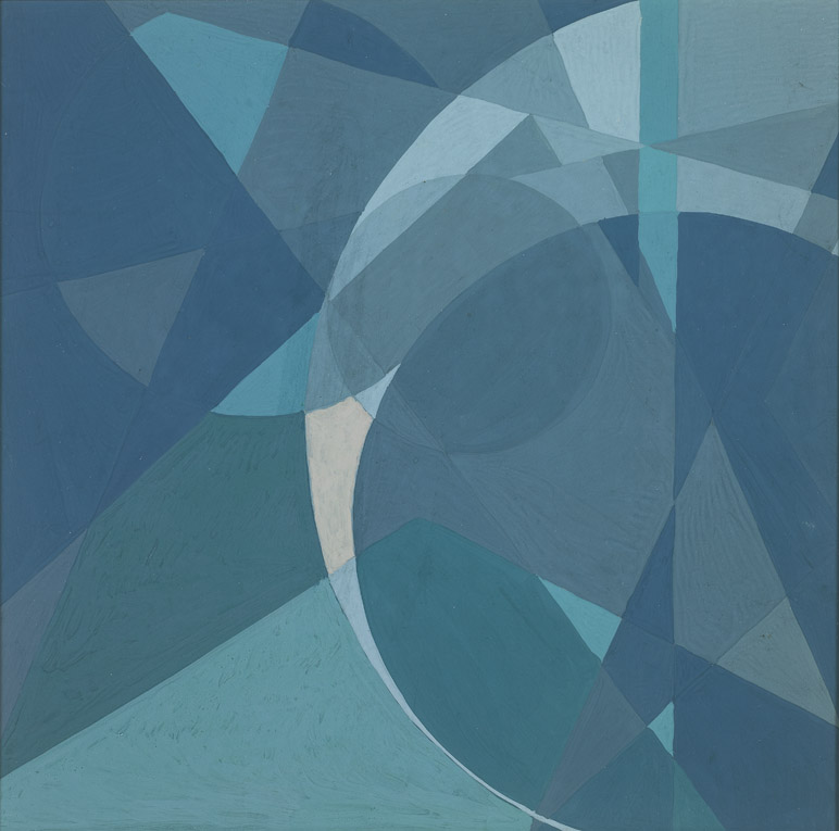 Untitled Abstract Composition, 1942, tempera on paper, 8.7 x 8.7 inches; 21.9 x 21.9 centimeters