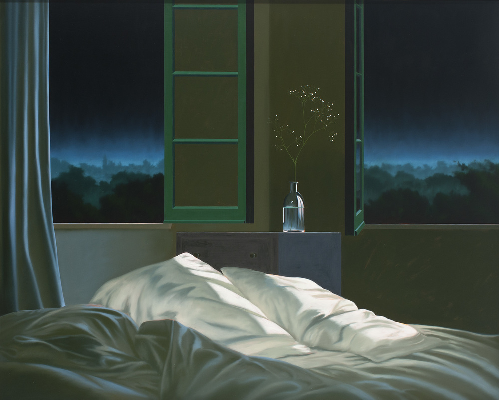 Untitled (Unmade Bed), 2011, oil on canvas, 48 x 72 inches; 122 x 183 centimeters